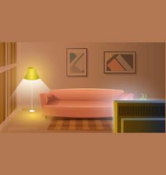 Modern living room with working tv cartoon vector