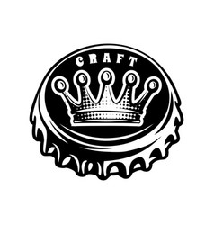 monochrome with bottle cap and crown vector image