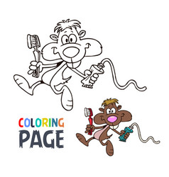 mouse cartoon coloring page vector image
