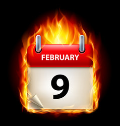 ninth february in calendar burning icon on black vector image