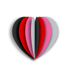 paper art of colorful heart with white background vector image