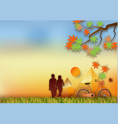 paper art style of with man and woman for autumn vector image