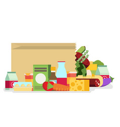 paper bag package with food and drink products vector image