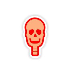 Paper sticker on white background human skull vector