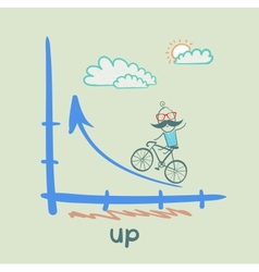 Person goes according to schedule up a bike vector