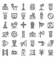 photographer equipment icons set outline style vector image