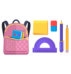 Pink rucksack with pocket on back with abc book vector