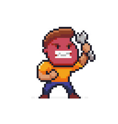 pixel art angry mechanic vector image