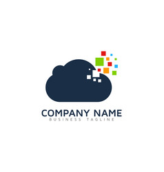 pixel cloud logo icon design vector image