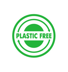 Plastic free green badge recycle circle vector