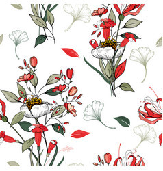 realistic isolated seamless flower pattern vector image