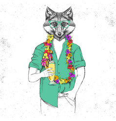 Retro hipster animal fox with tropic cocktail vector
