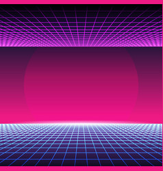 Retro neon light synthwave sci-fi background vector