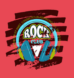 rock music club music badge emblem with vector image