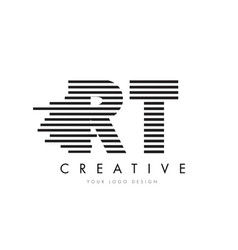 rt r t zebra letter logo design with black and vector image
