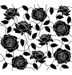seamless a black roses and leafs vector image