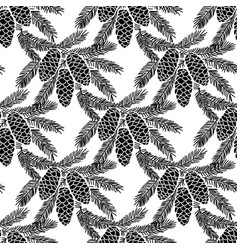 seamless pattern with fir-cone vector image