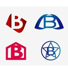 Set of abstract icons based on the letter b vector