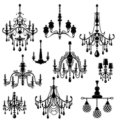 Set of Decorative elegant luxury vintage crystal vector