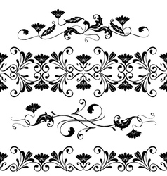 set swirling decorative floral elements vector image