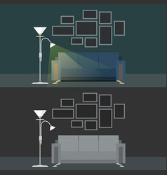 Set with two dark interiors living room vector