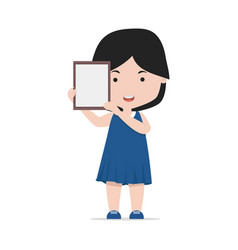 small girl holding a blank frame vector image