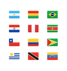 South america continent flags icons set vector