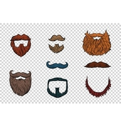 Stylish beard and moustache set collection vector