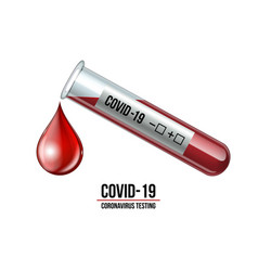 test tube with blood sample for covid-19 vector image