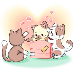 three cute kittens playing together with a box vector image