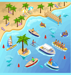 Tropical beach boating background vector