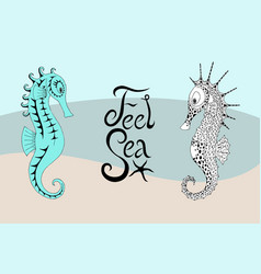 two seahorses and the calligraphic inscription vector image