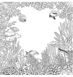Underwater frame with coral and fishes vector