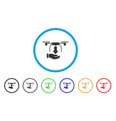 Unload drone hand rounded icon vector