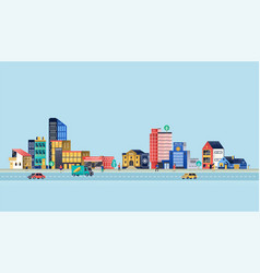 Urban landscape with modern buildings vector