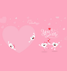 valentines background with cute heart cartoon and vector image