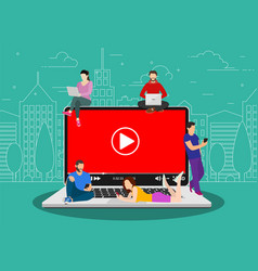 video concept people using mobile gadgets vector image