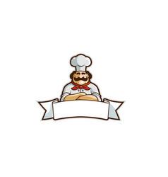 White ribbon chef logo vector