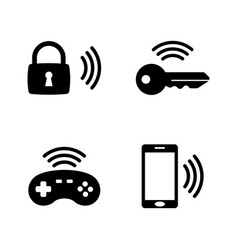 wireless gadget smart house simple related icons vector image