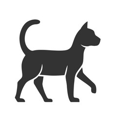 Witch cat glyph icon sorceress pet magic cat vector