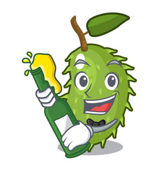 With beer fresh soursop fruit isolated on mascot vector