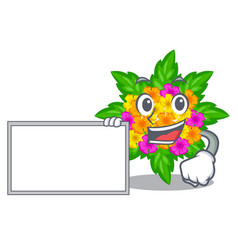 With board lantana flowers in the mascot pots vector