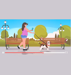 woman blogger walking with dog girl using vector image