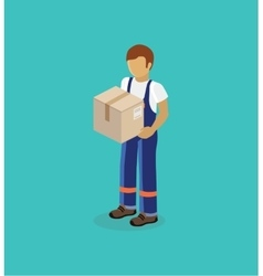 Man Delivery of Box Isolated Design vector image vector image