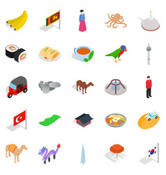 relax in asia icons set isometric style vector image