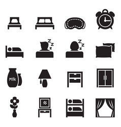 bedroom accessories icons set vector image vector image