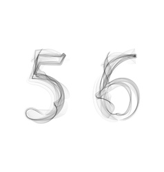 Black Smoke font Numbers 5 6 vector image vector image