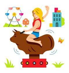 bull ride rodeo simulator cartoon vector image vector image