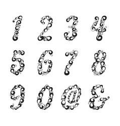 ornate patterned numbers and symbol collection vector image vector image