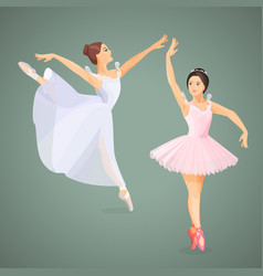 three young ballet dancers standing in pose flat vector image vector image